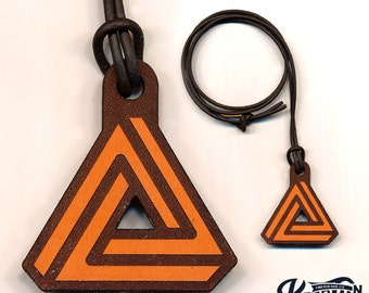 Laser Cut Leather Necklace and Keychain - Triangle