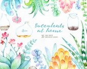 Succulents at Home. 35 floral Elements and Jars. Hand painted watercolor flowers, wedding diy elements, flowers, invite, jars clipart