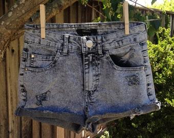 Acid wash high-waisted shorts