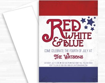 Red White and Blue, 4th of July, Fourth of July, Patriotic, Independence Day, Invitation, July 4th, Summer Party Invite