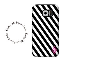 1278 // /Black and White Stripe Personalized iPhone 6 Case iPhone 6 Plus Case iPhone 5  Galaxy S5 Galaxy S6 Custom Monogram Phone Case