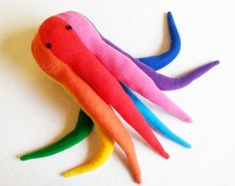 Rainbow Octopus Plushie