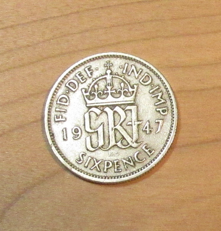 6 Pence Wedding Gift : 1947 British Wedding Sixpence Great Britain 6 pence coin