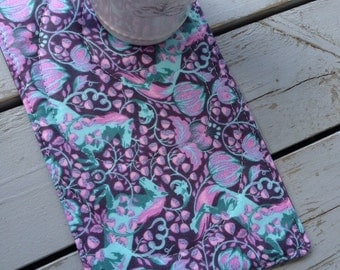 Mug Rug / Modern Horse Print Mug Rug / Reversible Quilted Tula Pink Mug Rug / Purple Fabric Snack Mat / Star