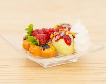 Dollhouse Miniatures Ice Cream Waffle Sundae with Whip Cream and Strawberry Topping on Plastic Plate Sweets Desserts Diorama Display Supply