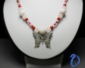 Pink & red macrame necklace with butterfly pendant and natural gemstones