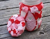 Upcycled Jar / Lots of Love  Fairy House polymer clay glass jar/ decorative storage/Valentine Decoration/ Heart Night Light/ Upcycled Jar