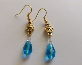 Spring gold and turquoise earrings (item #192)