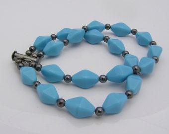 Blue Acrylic Multi-Strand Beaded Bracelet