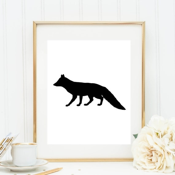 Black White Fox Print Black And White Fox By Printsbyjettyhome