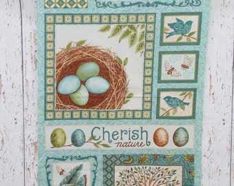 Cherish Nature by Deb Strain for Moda -  Panel   # 19390 - Teal   100% Cotton