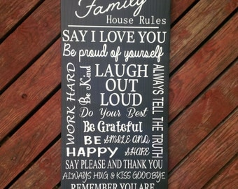 Family Rules, House Rules, Family Name, Wood Sign, 12x24