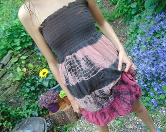 Pre Loved Tie Dye Pink and Brown Gathered Boob Tube Dress with Pockets