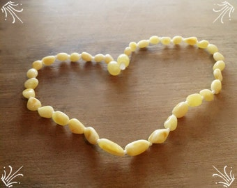 Baltic amber baby teething necklace - PALE Milky butter colour - CERTIFIED Genuine - Organic -