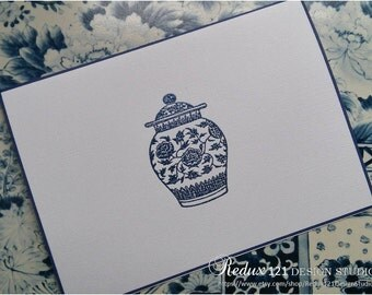 Blue and White Ginger Jar Note Cards Handmade Embossed Stationery Chinoiserie - Set of 4