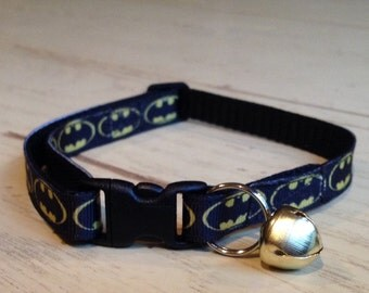 3/8 Wide Custom Made Adjustable Batman Grosgrain Cat Collar