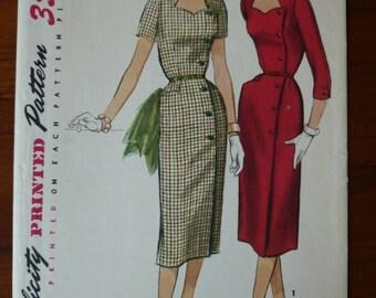 1950s Dress Pattern Simplicity 1685 Sz 16 1/2