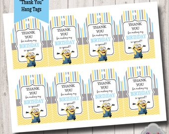 Minion - Thank You Hang Tags - Printable - HT006
