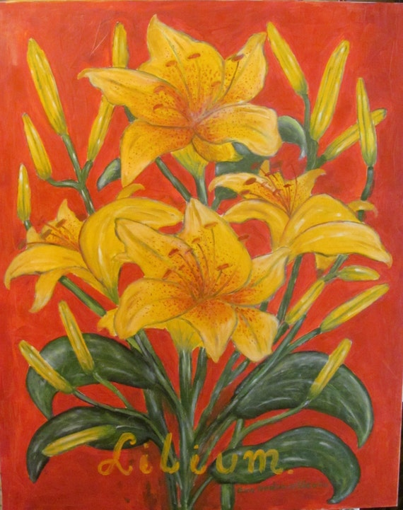 Lilies. Flowers oil painting.   Canvas painting.   Large oil painting.  original oil. colours; orange, yellow, green. ready to ship.