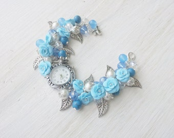 "Watch bracelet ""light blue"" beaded watches, clay watch, beaded watch, gemstone watch"