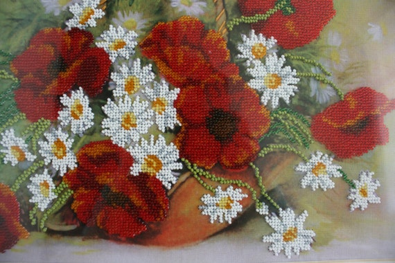 Poppy painting with beads seed pearls embroidery by