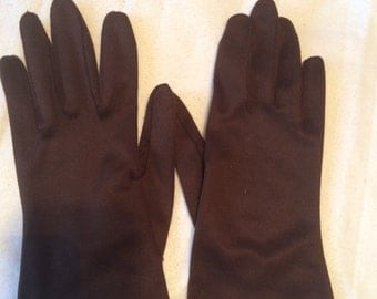 Vintage Hansen Gloves in chocolate brown nylasuede, size 6 1/2