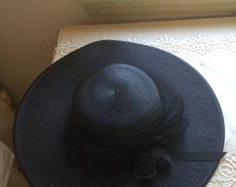 Vintage Black Rose Hat