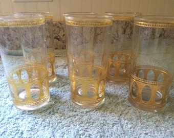 Vintage Gold Trimmed Tumblers, set of 6