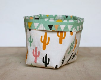 Small Fabric Storage Basket with Cactus and Triangles