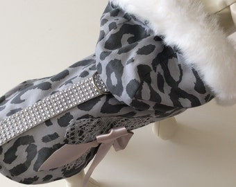 Grey camouflage fur trim coat
