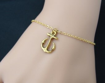 anchor bracelet, gold anchor charm on gold plated chain, mommy gift, best friend gift, nautical bracelet, bridesmaid, adjustable bracelet