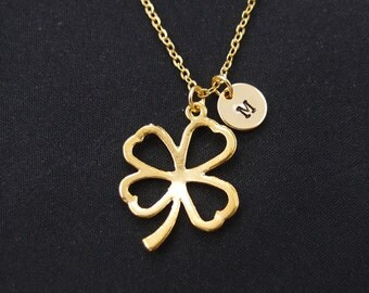 four leaf clover necklace, initial necklace, long necklace option, gold shamrock charm, gift idea, bridesmaid necklace, christmas gift