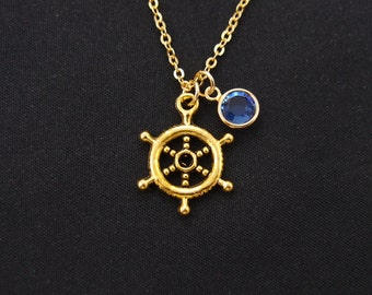 birthstone necklace, nautical steering wheel necklace, long necklace option, gold helm charm on gold plated chain, ship's steering wheel