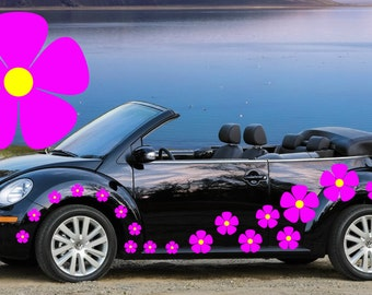 32,pink pansy flower car decals,stickers in three sizes