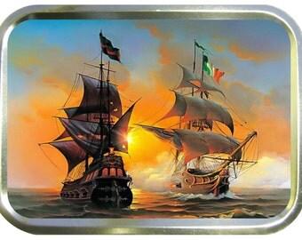 Old War ships design 2oz gold tobacco tin,pill box,storage tin