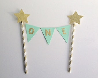 1st Birthday Bunting Cake Topper mint and gold