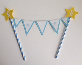 Birthday Cake Topper Blue and Yellow Bunting Custom made