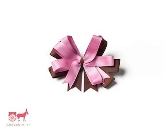 Fiocco rosa/marrone in gros-grain per bambina - F6