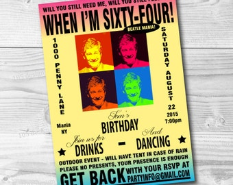 Custom Beatles Invitation Printable - The Beatles Party - Vintage Beatles Concert Poster Invitation - Customized to any age or event!