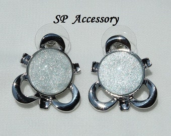 Silver Jewelry, Sparkling Silver Circle Earrings, stainless steel earrings, jewelry earrings