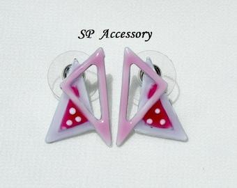Colorful Triangle Earrings, Pink Green Orange dot, stainless steel earrings, jewelry earrings