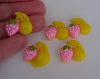 5 yellow strawberries cherry food resin flatback decoden cabochons 18x18mm Kawaii embellishments scrapbook DIY phone hairbow centre clip pin