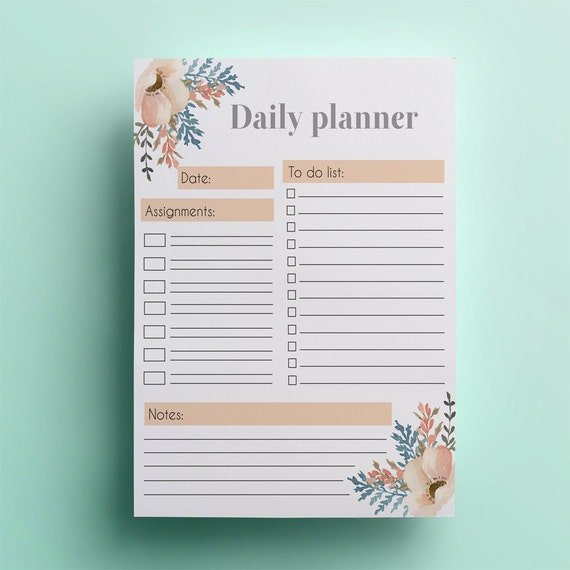 Printable Daily Planner Template Instant Download Day