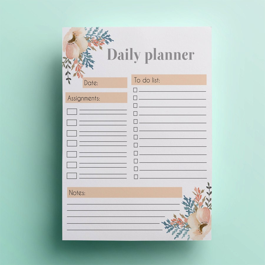 Daily Calendar Design : Printable daily planner template instant download day
