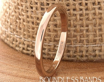 Rose Gold Tungsten Wedding Band Domed Polished Customized 2mm Mens Traditional Wedding Ring For Her Anniversary Promise Stackable Ring His