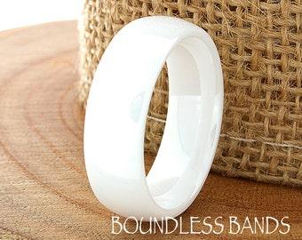 Ceramic Wedding Ring Mens Wedding Band White Ceramic Band Polished Domed Band His Hers Unisex Classic New Design Fashion Anniversary Modern