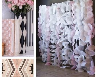 Paper Circle Garland Backdrop- Blush and White