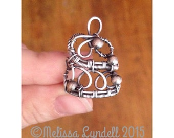 Handmade Sterling Silver Gothic Filigree Statement Ring Wire Wrapped Unique OOAK