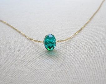 Green Crystal necklace / delicate gold crystal necklace / 14 k gold fill, Sterling Silver, Perfect Layering Necklace / Bridesmais necklace