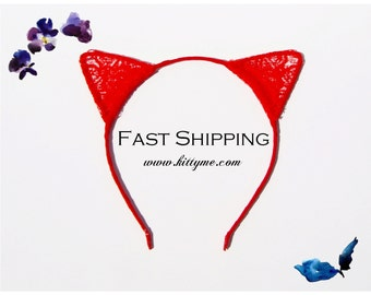 Red & Red Lace Devil Ears Headband